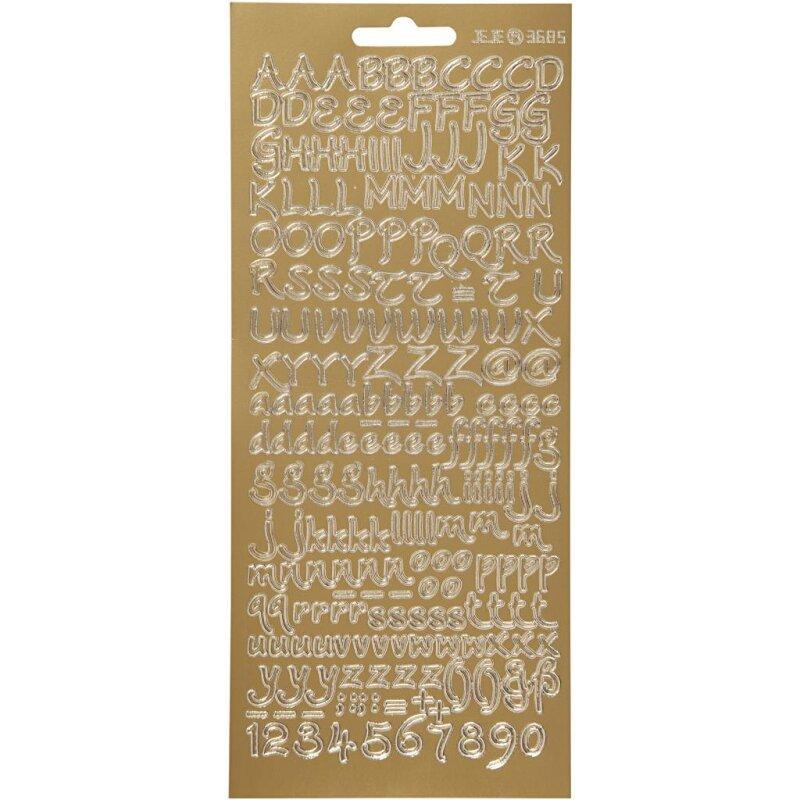 Reliefsticker Buchstaben 10 x 23 cm Gold